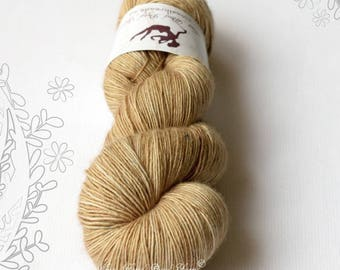 SILK MELODY - Latte and Nuts - hand dyed, extra fine merino and mulberry silk yarn, for knitting or crochet, singles