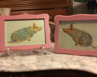 Two Signed Framed Pig Prints