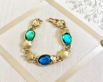 Vintage 80s Kunio Matsumoto Bracelet with Seashells Starfish and Aqua Lucite Gold Plated Rare