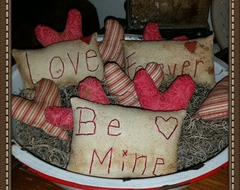primitive valentine pillow tucks heart bowl fillers valentines day decor ofg faap