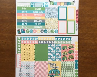 Happy Camper Mini Weekly Set ECLP Horz & Vert Planner Stickers Erin Condren Mambi Inkwell Press Filofax KikkiK Happy