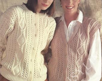 PDF Instant Digital Download ladies aran knitting pattern cardigan & waistcoat 30 to 40 inch (202)