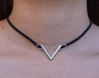 Silver V Triangle Choker Necklace