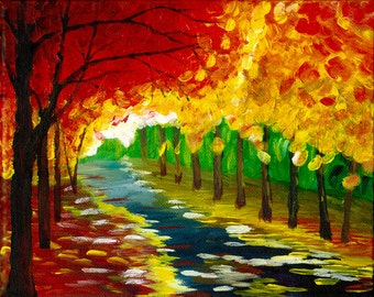 An Autumn Walk in the Park - Acrylic Painting