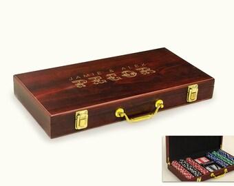 laser engraved poker chip set custom poker game custom games poker - Poker Sets