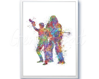 Star Wars Han Solo and Chewbacca Watercolor Art Silhouette Poster Print - Wall Decor - Watercolor Painting - Home Decor - Kids Decor