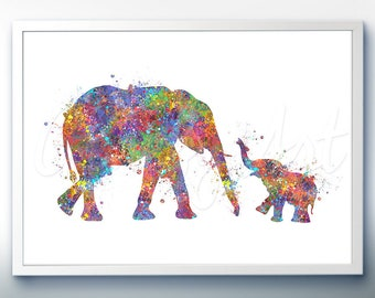 Baby Elephant and Mother Elephant Watercolor Art Print - Elephant Watercolor Art Painting - Kids Nursery Decor - House Warming Gift