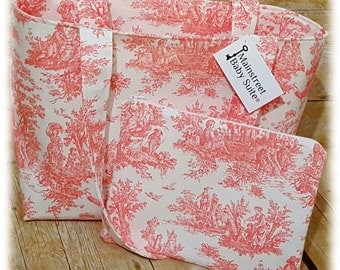 Beautiful Toile Tote Bag Set ~ Stylish, Chic, Trendy, Functional! Additional Colors Available!