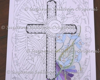 Coloring Page, Christian Coloring Page, Bible Verse coloring page, Adult Coloring Page, Printable Download, Matthew 22:37, Stress Relief