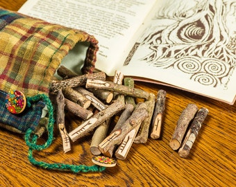 Celtic Tree Ogham Set with luxury bag and book