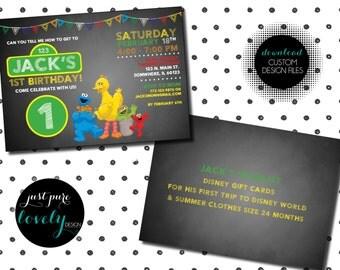 Sesame Street Birthday Invitation | Printable | Chalkboard Style