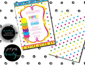Ice Cream Birthday Invitation | Bright | Colorful | Printable | First Birthday | Scoops of Excitement | Sprinkles of Fun