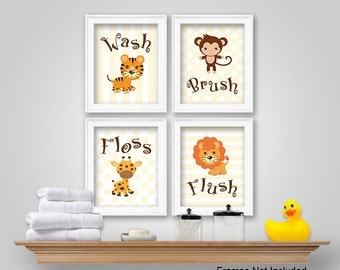 Bathroom Wall Decor Monkey Etsy