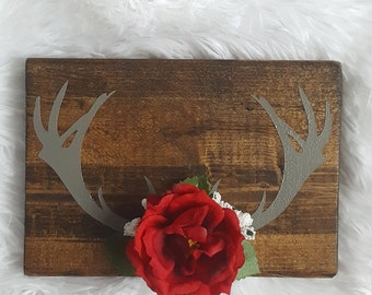 red rose, little wedding gift, grey antlers with bright red artificial flower, rustic home decor, gifts under 20