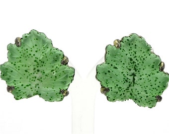 Judy Lee Green Frosted Glass Leaves With Dew Drops Earrings