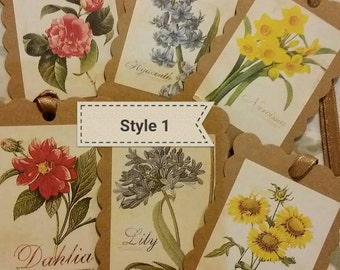 Vintage style floral gift tags (set of 6)