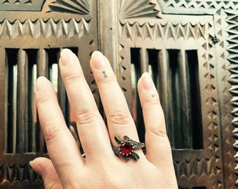 Turkish Ottoman Ring, SilverTurkish Ring with Red Garnet and Gem Stones, Free Domestic and International Shipping