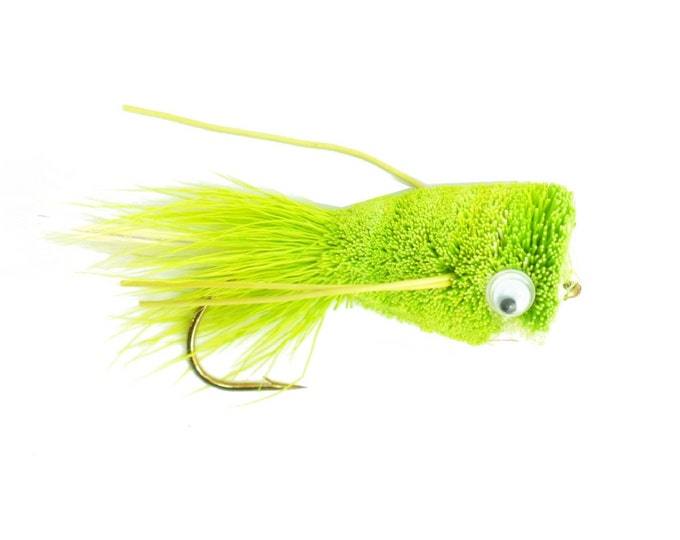 Bass Fly Fishing Bug: Deer Hair Popper Chartreuse  - Hook Size 6 - Premium Wide Gape Bass Hooks With Weed Guard