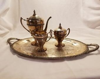 Lifetime Brand Silver Tea Set with Tray Teapot Creamer Lidded Sugar Bowl Silverplate