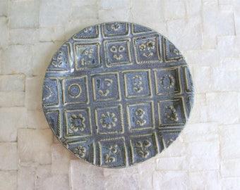 Handmade ceramic sugar cookie side plate | Handbuilt stoneware dessert plate in vintage blue