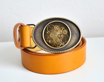 Yellow Leather Steampunk belt, Yellow, Leather Belt, Steampunk, Belt, Buckle, steampunk lovers belt, belt buckles for women, belt buckles