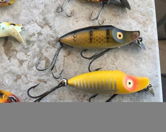 2 Heddon River Runt Spook Sinkers Yellow Shore n Natural Scale Excellent