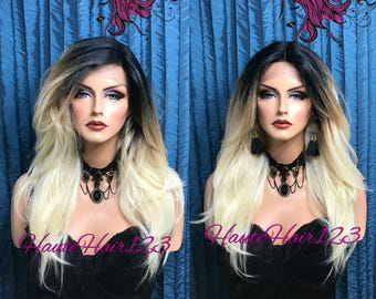 Ombre Dark Roots To Platinum Blonde Straight Human Hair Blend Swiss Lace Front Wig