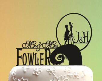 Wedding Cake Topper - jack and sally cake topper - Wedding Cake Topper -  Nightmare Before Christmas  Wedding cake topper monogram M1-01-004