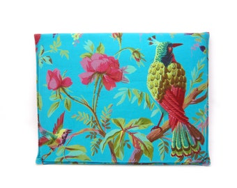 Laptop bag - Tabletsleeve with bird of paradise in petrol-blue