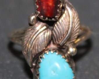 Jasper & Turquoise Ring set in Silver with Leaf Design -- Size 4  2.8 Grams