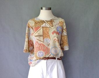 Vintage silk blouse top shirt short sleeve size S/M