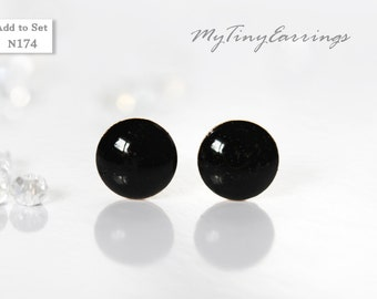 6mm Black Stud Earrings Mini Tiny - Men Jewelry Stainless Steel Gold Plated Posts plus High Quality Epoxy Resin - Simply Black  N174