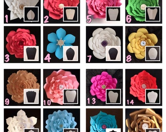 HARDCOPY Paper Flower Templates / Price is for ONE template style / Read Description / DIY paper flowers