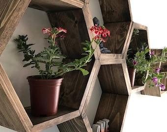 Large Hexagon shelf, hexagon shelves, honeycomb shelf, honeycomb shelves, floating hexagon shelf, floating honeycomb shelves, boho, hexagon