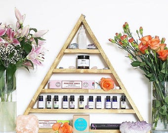 XXL Crystal display, essential oils display, jewelery display, reiki, display shelf, triangle shelf, pyramid shelf, amythist, wood crystal