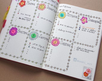 Bullet Journal Wochenplaner / weekly spread DE, EN & blank - flower edition - sofortiger digitaler Downlad
