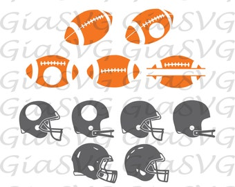 Football balls svg, football helmets svg, football monogram svg, ready to cut files for Cricut, Silhouette etc, also in png, eps & DXF