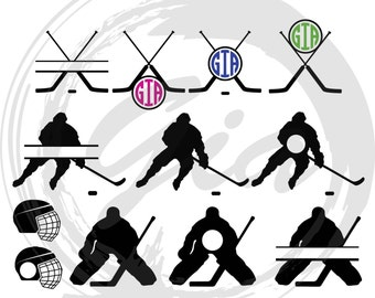 Ice Hockey Monogram SVG, ice hockey silhouettes, hockey sticks monogram,  cut files for Cricut, Silhouette etc, also in png, eps, DXF