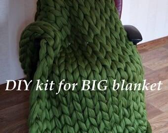 "BIG DIY Knit Kit for Chunky knit blanket. Giant knitting needles 40 mm/1.6"" & Super chunky merino yarn. Chunky knit throw"