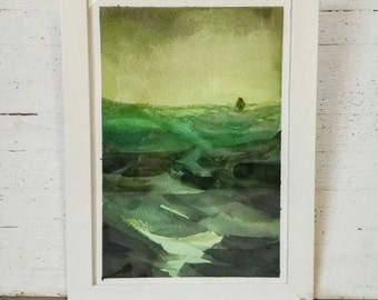 Watercolor painting of a seascape with a ship in emerald green tones