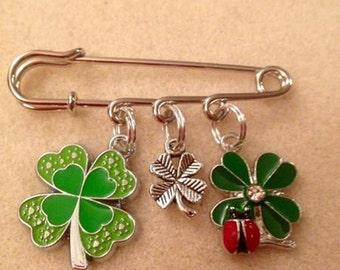 St Patrick's Day Kilt Pin Shamrock 4 Leaf Clover Scarf Pin Brooch Lucky Irish Ladybird Gift