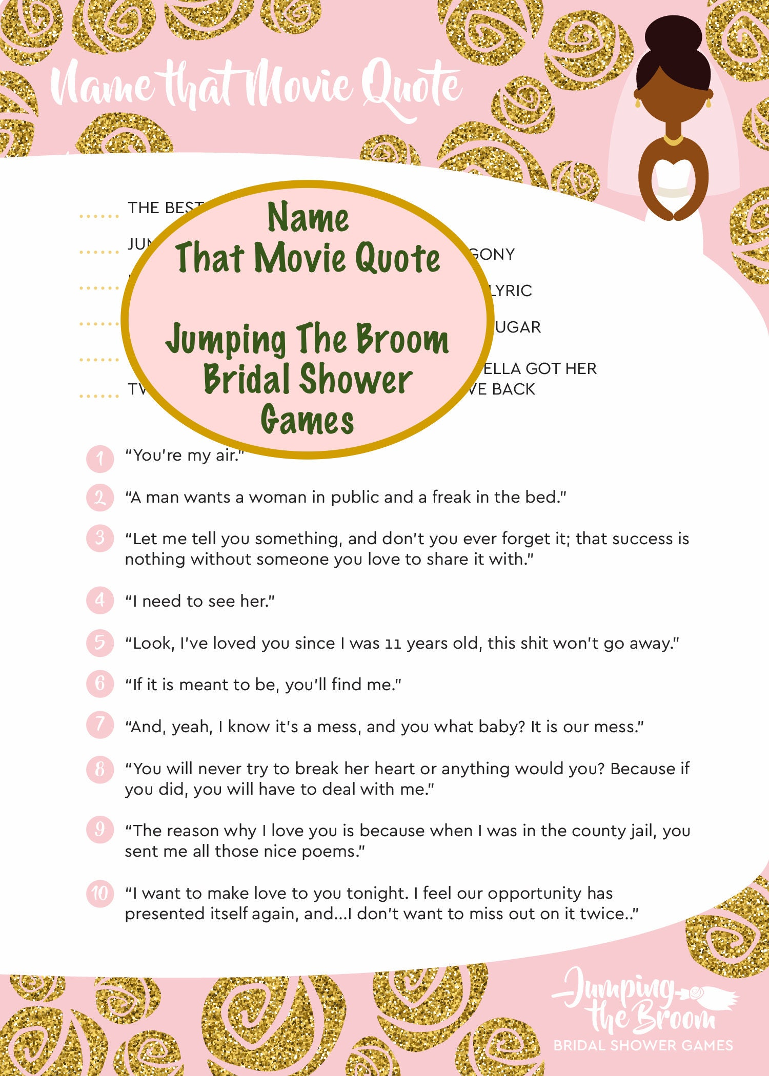 Jumping The Broom Bridal Movie Quote Game African American
