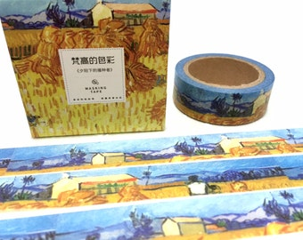 Harvest in Provence of Wheat Field with Sheaves washi tape 7M Van Gogh painting masking tape Hand painted canvas art pattern sticker tape