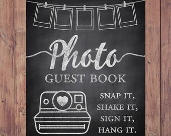 Photo guest book -  snap it, shake it, sign it, hang it - rustic photo wedding guest book - PRINTABLE  - 8x10 - 5x7