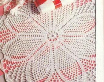 76. Vintage doily UK crochet pattern in pdf, Lotus Flower doily pattern