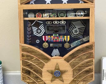 Air Force Stripes Retirement Shadow Box