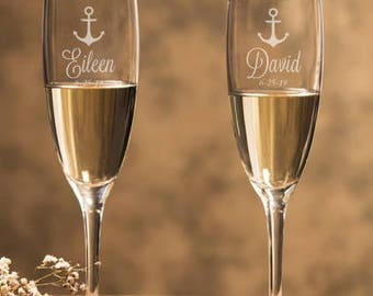 Anchor Personalized Champagne Flutes - Nautical Theme Personalized Wedding Toasting Flutes - DG24-A16