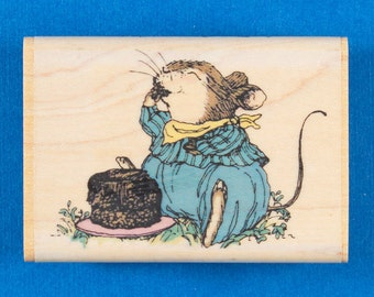 Holly Pond Hill Chocolate Heaven Rubber Stamp - Cute Baby Bunny Eats Cake - Uptown Design Company