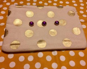 polka dot and purple bag