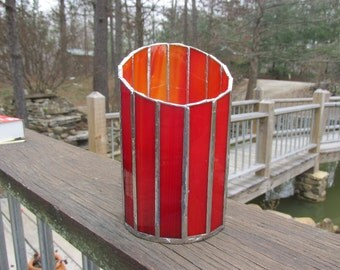 Stained glass, candle holder, vase, votive, red, silver, art glass, suncatcher